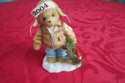 Cherished Teddies Decorating The Holidays W/Happiness  Knut118385 with wreath