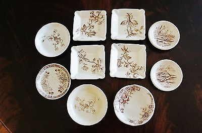 Nice Lot of 10 Antique Assorted Designs Patterns Butter Pats