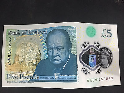 AA39 Bank of England Polymer £5 Five Pound Note Genuine *RARE*