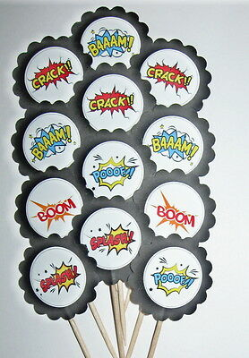 Super Hero Action Word Cupcake Toppers/Party Picks  Item #1274 Birthday