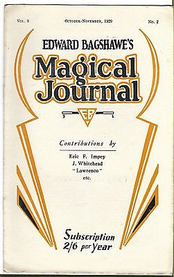 Edward Bagshawe's Magical Journal. Oct/Nov. 1929. Magic Magazine.