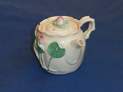 Beautiful Antique Chinese Miniature Flower Encrusted Side Spout Teapot ~ Signed