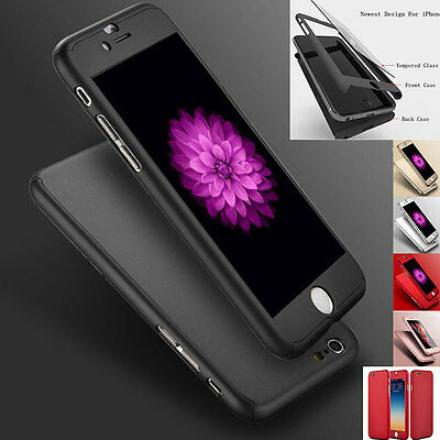 360° Hybrid Hard Ultra thin Case Cover + Tempered Glass For iPhone 7 6 6S Plus