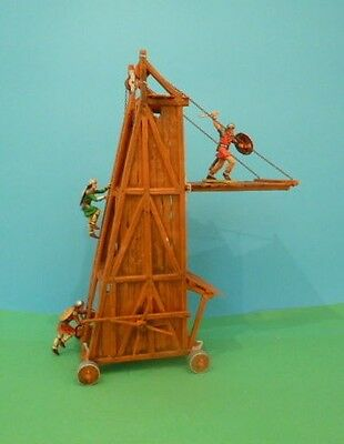 70mm painted plastic boxed Elastolin Siege Tower with servants