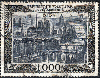 France 1949 1000f Airmail View of Paris Used