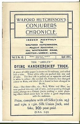 Wilford Hutchinson's Conjurers Chronicle. April 1921. Magic Magazine.