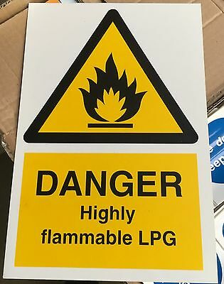 Warning Sign - DANGER Highly flammable LPG- 300 x 200mm Safety Signs