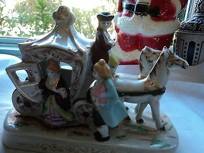 Hand-Painted China Horse and Carriage Figurine