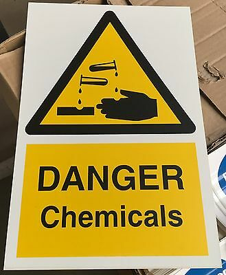 Warning Sign - DANGER Chemicals - 300 x 200mm Safety Signs