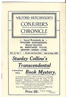 Wilford Hutchinson's Conjurers Chronicle. May-Sept. 1929. Magic Magazine.