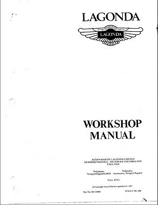Aston Martin Lagonda Workshop Manual Reprinted A4 Comb Bound 209 Pages