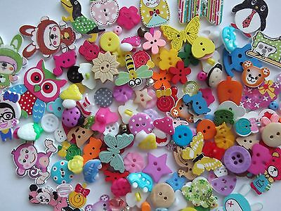 100 Top Quality Wooden Resin Assorted Buttons, Button Craft