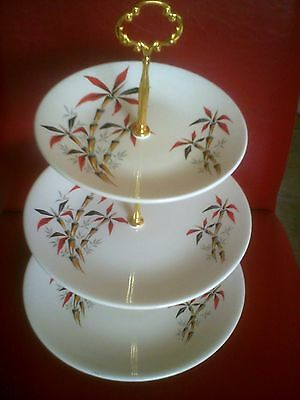 3 tier vintage washington hanley pottery bamboo cake stand