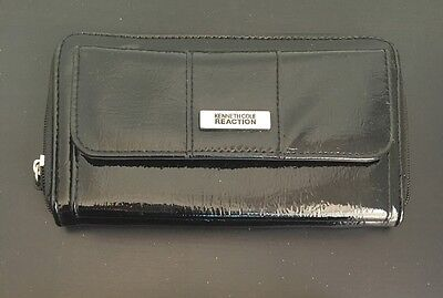 Womens Kenneth Cole Trifold Wallet Organizer Black Leather With Zip Coin Holder
