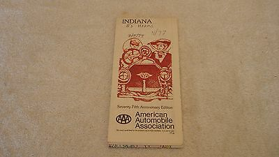 1977 Indiana Road Map AAA  75th Anniversary Edition