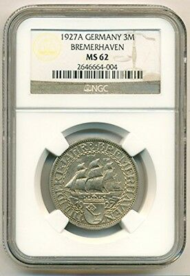 Weimar Germany Silver 1927 A 3 Mark Bremerhaven MS62 NGC