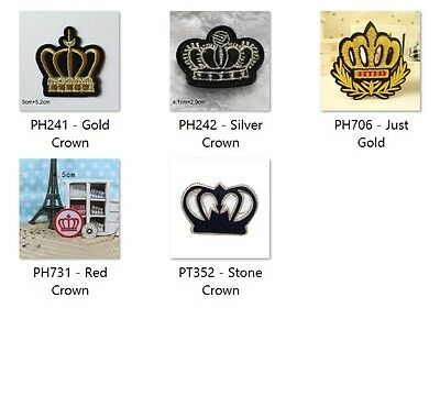 Crown - Sew Embroidery Iron On Patch Badge Clothes Fabric Applique