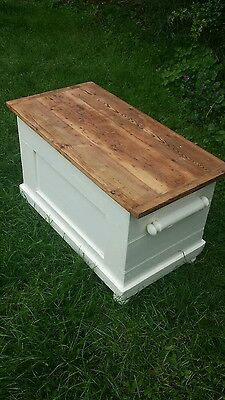 old pine chest/box - in cream - with pigs ear handles - coffee table - log box