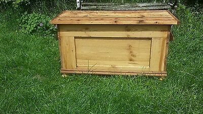 old pine chest/box --- with pigs ear handles - coffee table - log box