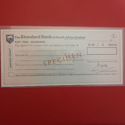 South Africa  specimen Travellers cheque