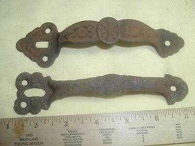 Antique Vintage Lot 2 Door Pulls Metal Cast Iron? Hardware Key Hole Ornate