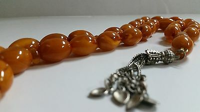 Antique Amber Bakelite Kehribar Faturan Catalin Prayer Beads.