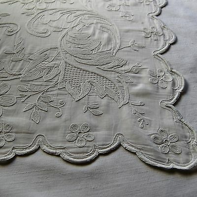 Beautiful Pair Antique French Cornely Embroidered Curtains 78 x 189 cms