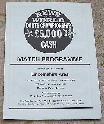 VERY RARE News of the World  DARTS East Regional PROGRAMME LINCOLNSHIRE 1981