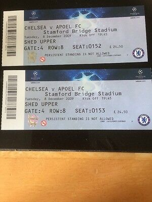 MATCH TICKETS X2 CHELSEA V Appel 2009-2010 UEFA CHAMPIONS LEAGUE