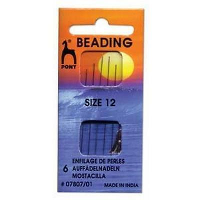 Pony Beading Needles Pack of 6 Sizes 12 Jewellery Making