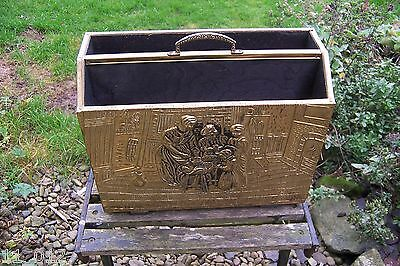 Vintage retro brass and wood magazine/newspaper rack medieval kitchen theme used