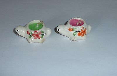 2 Miniature ceramic candlesticks turtles