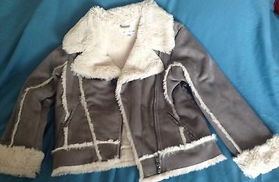 M&S Autograph Girl's Grey Suede Effect Fleece Lined Jacket Age 6-7 Years