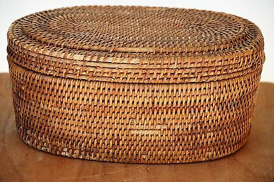 Antique Woven Wicker Sewing Basket Satin Inside Very Old Vg Condition-Patina