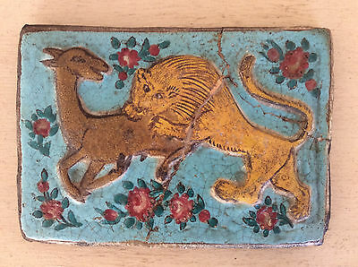 Original Early ANTIQUE Pottery TILE, Lion & Deer, Persian QAJAR Islamic IZNIK af