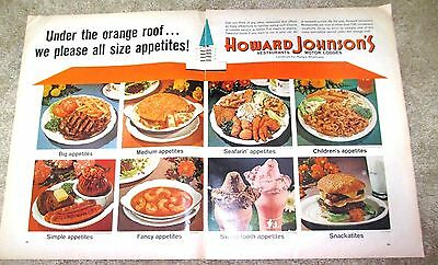 Vintage Print Ad 1965 Howard Johnson's Restaurant - Two Page Ad