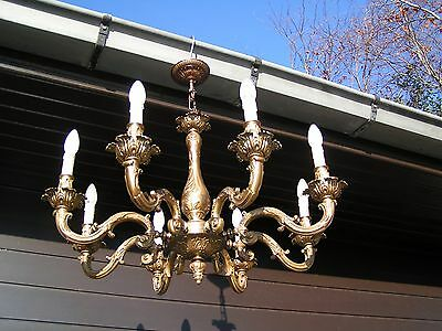 **** Very nice ornated bronze 8 light Louis XV style chandelier.LOOK !!