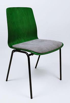 Vintage Industrial 1960' Reupholstered Plywood Chair By Hiller Germany