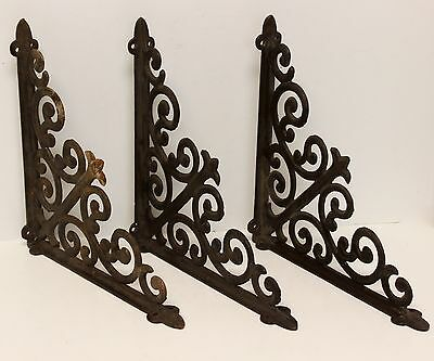 Vintage Cast Iron Shelf  or Corner  Brackets~Set of 3~Indoor or Outdoor Use~GUC