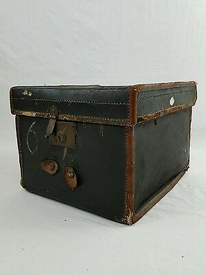 Antique Vintage Leather Box Trunk Suitcase Storage Victorian Small Records