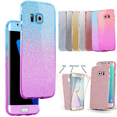 For Samsung Galaxy S6 S8 S9 Phone Case Glitter Shockproof Hybrid 360 TPU Cover