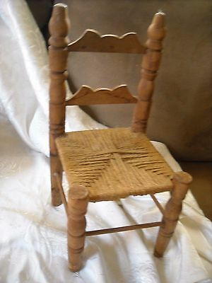 primitive country wood doll chair display decoration decor wood 12""