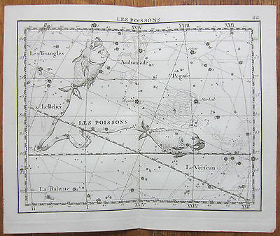 Flamsteed Astronomy Original Celestial Map Fish Pisces - 1776