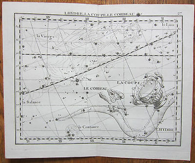 Flamsteed Astronomy Original Celestial Map Hydra Raven - 1776