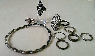 ~ Vintage sterling silver jewelry lot - Rings, bracelet ~