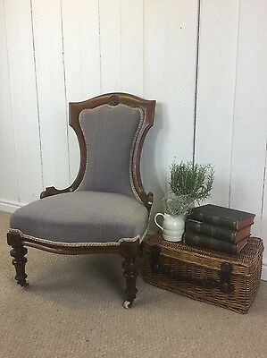 Antique Wool Upholstered Nursing Bedroom Chair, Traditional, Chic, Solid Wood.