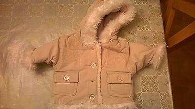 Baby Girls Cordoroy Coat - Beige with embroidered flowers - upto 11lbs/5kg