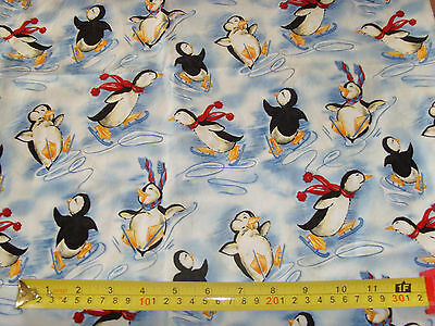"""Jo Ann blue background penguin fabric material 40x50"""" darling novelty fabric"""