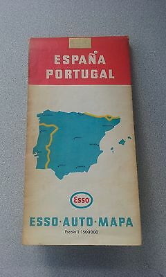 Vintage Esso Motorists Map Spain and Portugal probably 1960s