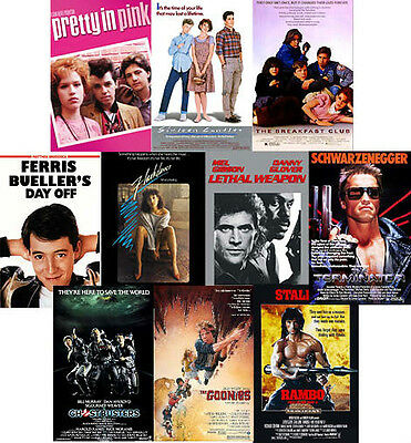 80's Movie Posters Brat Pack Flashdance Ferris Buellers Goonies Lethal Weapon